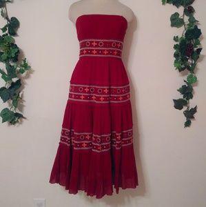BCBGMAXZARia Embroidered Festival Pleated Dress